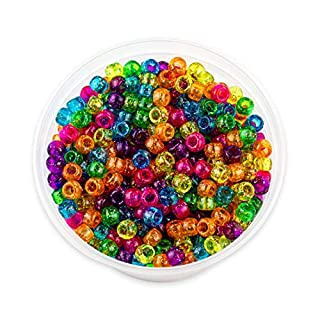 Hygloss Plastic Pony Glitter Jelly Beads, 6 x 9 mm, Assorted Colors, Pack of 1000