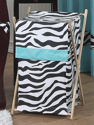 Baby and Kids Turquoise Funky Zebra Clothes Laundry Hamper by Sweet Jojo Designs, Baby & Kids Zone