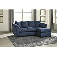 Darcy Contemporary Blue Color Microfiber Sofa Chaise