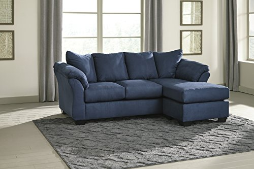 Darcy Contemporary Blue Color Microfiber Sofa Chaise Explained