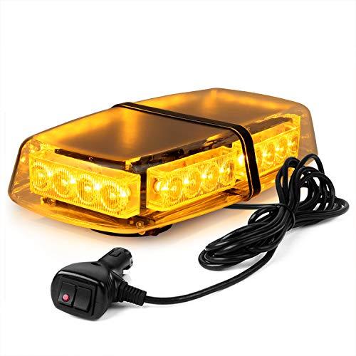 WoneNice Amber Yellow 24 LED 24 Watts High Intensity Law Enforcement Emergency Hazard Warning LED Mini Bar Strobe Light for Snow Plow Police Firefighters Trucks Vehicles w/Magnetic Base,12V