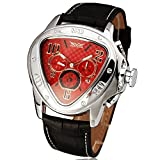 WINNER Men Casual Automatic Mechanical Wrist Watch Leather Strap Triangular Dial Sub Dials Unique Design
