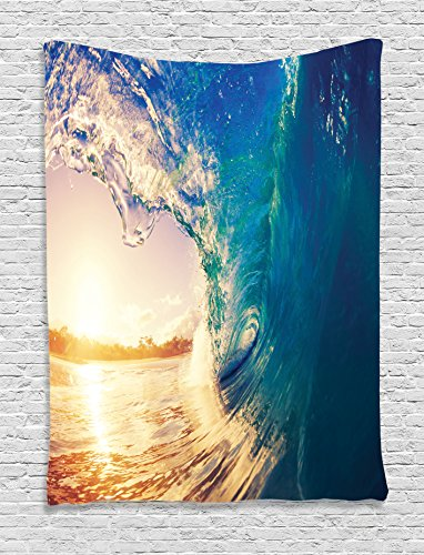 Beach Tapestry Ocean Decor Ambesonne, Surf Wave at Sunrise Reflection on Surface Tropical Trees Shore Summertime Picture, Bedroom Living Room Dorm Wall Hanging, 60 W x 80 L Inches, Teal Golden Yellow