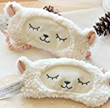 Ayygift Lambs Wool Patch Eye Mask Cute Plush Sheep