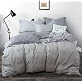 Uozzi Bedding 3 Piece Duvet Cover Set with Zipper Closure,Gray Printed Pattern with dot and Cross Reversible, Brushed Microfiber, Lightweight Soft, Comfortable, Durable (Dot&Cross, Queen90 x90)