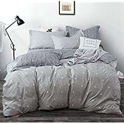 Uozzi Bedding 3 Piece Duvet Cover Set with Zipper Closure,Gray Printed Pattern with Dot and Cross Reversible, Brushed Microfiber, Summer Thin Material (Dot&Cross, Queen90 x90)