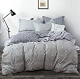 #10: Uozzi Bedding 3 Piece Duvet Cover Set with Zipper Closure,Gray Printed Pattern with dot and cross Reversible, Brushed Microfiber,New Year gift for Family (Dot&cross, Queen90 x 90)