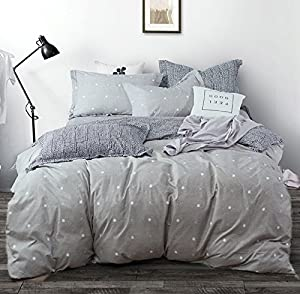 Uozzi Bedding 3 Piece Duvet Cover Set, Reversible Printing with Brushed Microfiber, Lightweight Soft, Gray with Dots and Cross, Simple Design Bedding set (Dots& Cross, Queen)