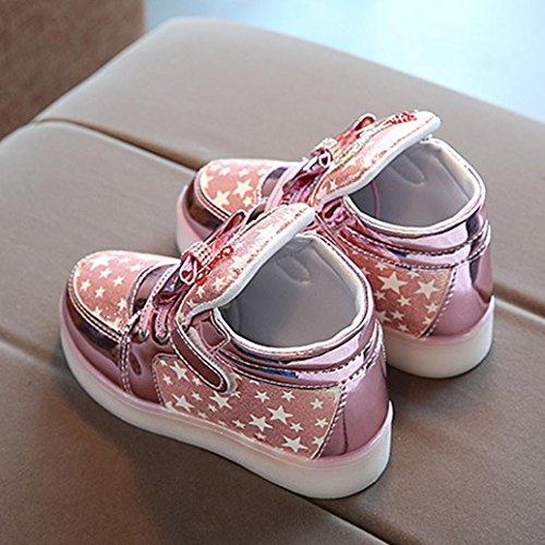 Prevently Fünf-Spitzes Sternjungenbogenmädchen Beschuht Babyschuh-Kindlichtschuhbabyart und weiseturnschuhe Stern-Leuchtende Kinder Freizeit Bunte Helle Schuhe Rosa