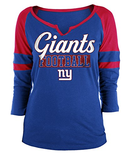 (New York Giants Ladies Slub Jersey 3/4 Sleeve Raglan Split Scoop T-Shirt Large)