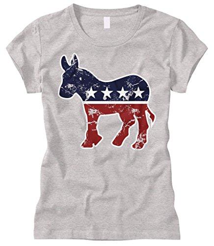 Democrat Light T-shirt (Cybertela Women's Faded Democrat Donkey Fitted T-Shirt (Light Gray, X-Large))