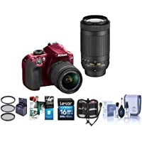 Nikon D3400 DX-Format DSLR Camera (Red) with AF-P DX 18-55mm F/3.5-5.6G VR and AF-P DX 70-300mm F/4.5-6.3G ED Lenses - Bundle with 16GB SDHC Card, Cleaning Kit, 58mm Filter, Memory Wallet, Software