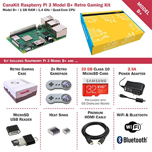 CanaKit Raspberry Pi 3 B+ (B Plus) Retro Gaming Kit with 2 Retro Gamepads by CanaKit (Image #1)'