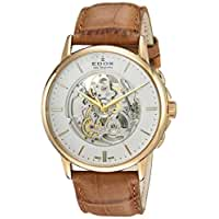 Edox Men's 'Les Bemonts' Swiss Automatic Stainless Steel and Leather Dress Watch, Color:Brown (Model: 85300 37J AID)