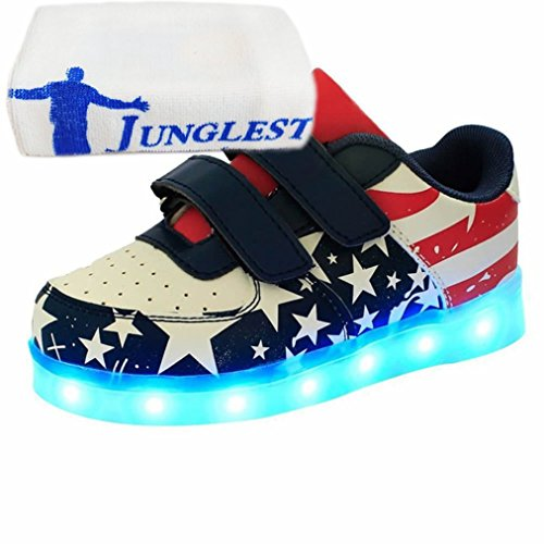 (Present:small towel)JUNGLEST® High Quality Kids Sneakers Fashion shoes USB charging LED Luminous light up shoes mu Black