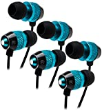 Bastex Universal Blue Earphone/Ear Buds (3 pk),3.5mm Plug, Bass Stereo Headphones In-Ear,Tangle Free Cable, with Built-In Microphone Earbuds For iPhone iPod iPad Samsung Android Mp3 Mp4 and more
