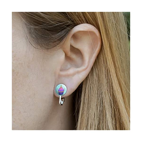 GRAPHICS & MORE Unicorn Cupcake with Sprinkles Rainbow Novelty Clip-On Stud Earrings 4