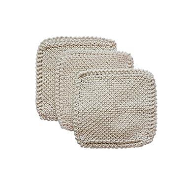 Toockies 100-Percent Organic Cotton Scrub Cloths, Hand Knit, Set of 3