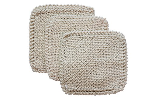 Toockies 100-Percent Organic Cotton Scrub Cloths, Hand Knit, Set of 3 (SC10001) (100 Percent Cotton Towels Made In Usa)