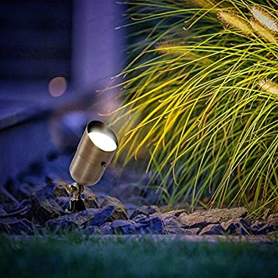 MIK Solutions 7W LED Landscape Light Water Resistant Brass Metal Spotlight Warm White Garden Lighting for Walls Trees Flags Security Outdoor Home Area with Spike Ground Stake and Bulb : Garden & Outdoor