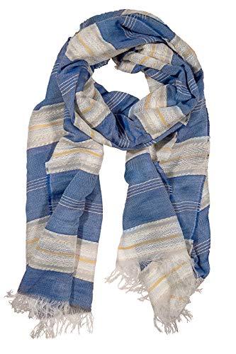 GIULIA BIONDI Sparkle Lurex Striped Fashion Scarf Soft Large Shawl Wrap Women MADE IN ITALY (Blue)
