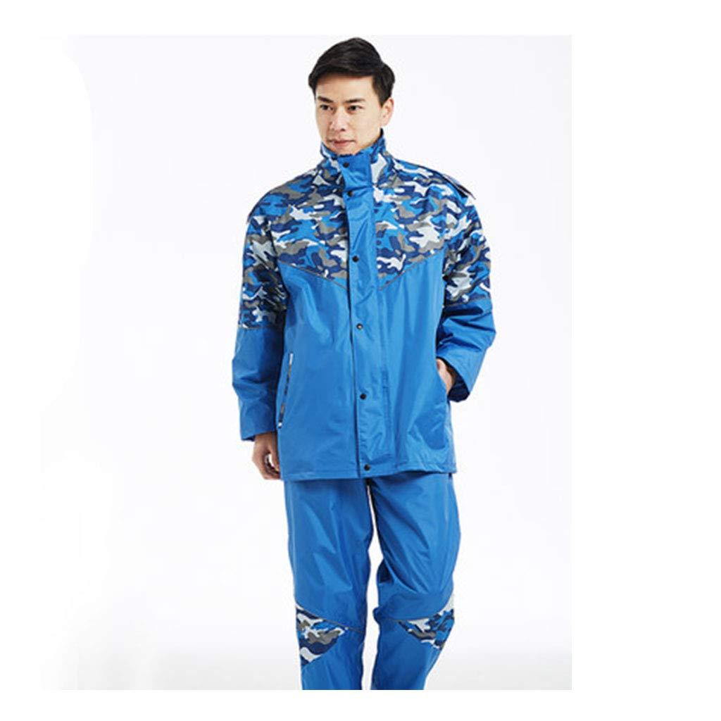 Royal bleu Medium JTWJ Pantalon de Pluie Camouflage imperméable, Double Poncho épais, imperméable pour Adulte (Vert Bleu) (Couleur   vert, Taille   XL)