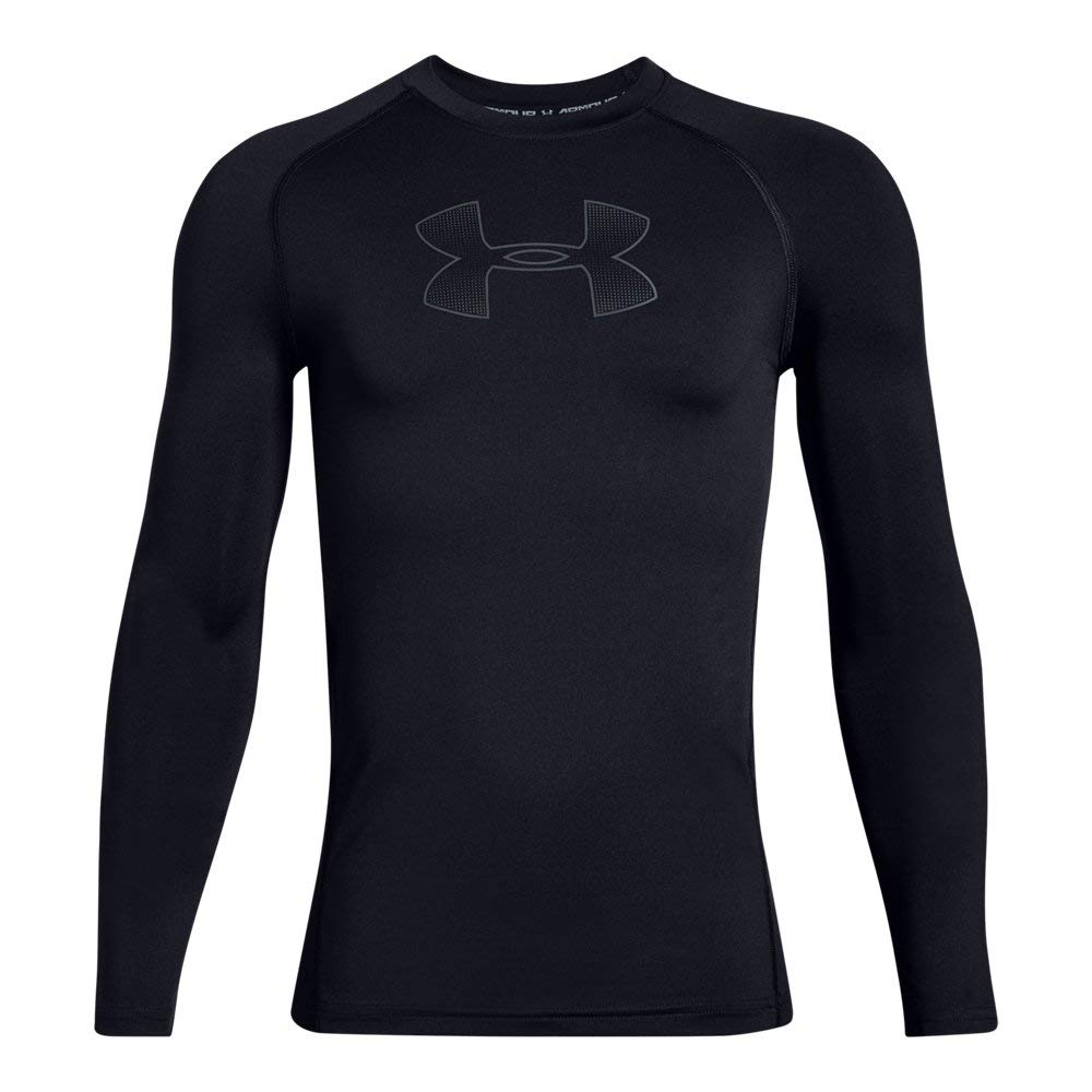 Under Armour Boys' HeatGear Armour Fitted Long Sleeve Shirt, Black//Pitch Gray, Youth Medium