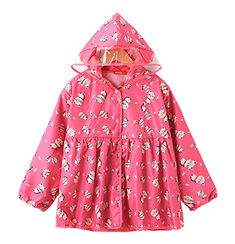Ozkiz Little Boys and Little Girls Rain Coat With Cute Patterned Pink L (Raincoat Patterned)
