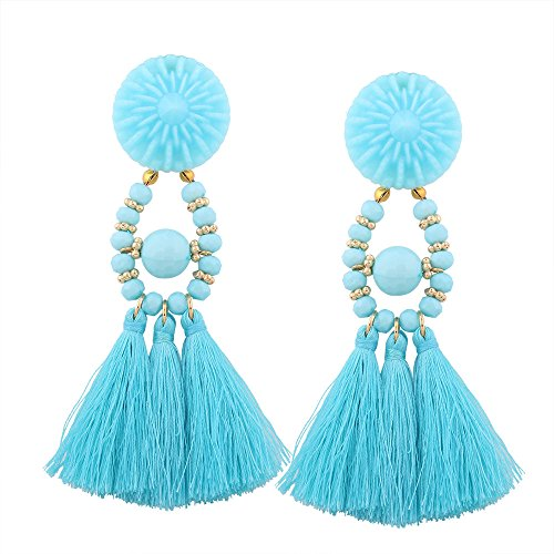 Misaky Fashion Tassel Chandeliers Drop Earrings (Blue) (Outdoor Tassels)
