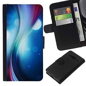 Protector de cuero de la PU de la cubierta del estilo de la carpeta del tirón BY RAYDREAMMM - Samsung Galaxy Core Prime - Remolino del color