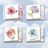 Basic Blooms: 12 Assorted 'Square-Top' Blank, All Occasions Note Cards Featuring Images of Watercolor Flowers Delicately Outlined in Black Ink with Envelopes. MQ4627OCB-B3x4