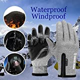 GOLOVEJOY Unisex Winter Waterproof Touchscreen Gloves,Warm Thermal Soft Lining Elastic Cuff Texting Anti-Slip - 3 Colors,5 Sizes