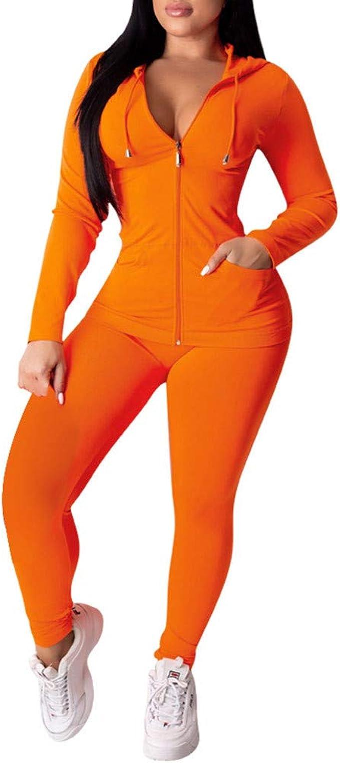 Damen Trainingsanzug Jogginganzug Langarm Reißverschluss Hosen Set Sportanzug