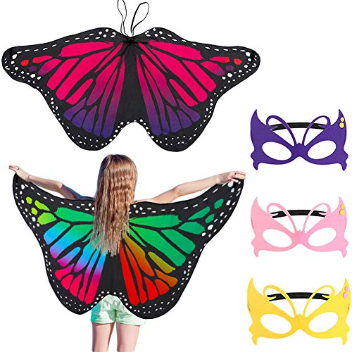 Bkpearl 2 pcs Butterfly Wings Costume, Kids Fairy Butterfly Shawl and Mask for Boys Girls Dress Up Princess Pretend Play Party Favors -
