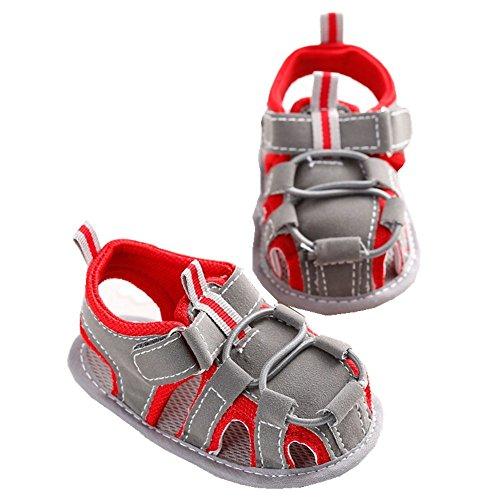 Soft Soles Classic Sandal (LINKEY Infant Baby Non-slip Velcro Walking Sandals Prewalker Soft Sole Toddler Shoes Red Size S)