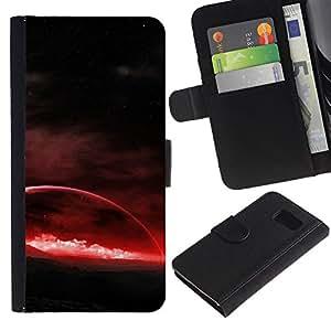 planeta rojo - la tarjeta de Crédito Slots PU Funda de cuero Monedero caso cubierta de piel Para Samsung Galaxy S6