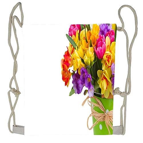 AoshangGardeflag Colorful daffodils and freesias bouquet in a green vase Unisex Drawstring Bag Drawstring Backpack Sport Bag Gym Bag 100% Polyester Material Travel Bag for Men Women (Freesia Bouquet Wedding)