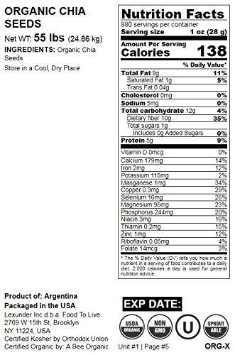 Semillas de Chía orgánica, 55 Libras - negro, vegano, kosher ...