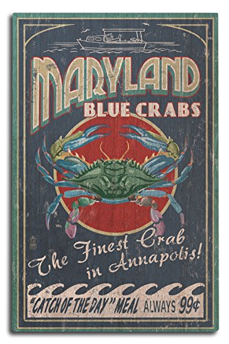 Lantern Press Annapolis - Maryland Blue Crabs Vintage Sign (10x15 Wood Wall Sign, Wall Decor Ready to Hang)