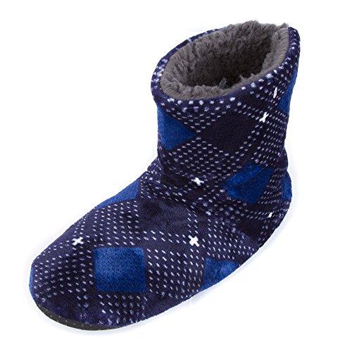Leisureland Plaid Para Hombre Con Forro Polar, Zapatillas De Deporte Con Cordones Azul Marino Y Azul