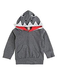 BAOBAOLAI Baby Boys Shark Hooded Sweatshirt with Kangaroo Muff Pockets & Shark Fin