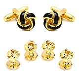 Ox and Bull Gold & Black Knot Tuxedo Cufflinks & Stud Set