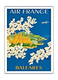 Islas Baleares - Balearic Islands, Spain - France - Santa Maria Cathedral, Palma, Mallorca - Vintage Airline Travel Poster by Lucien Boucher c.1951 - Premium 290gsm Giclée Art Print 36in x 48in