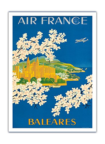 Islas Baleares - Balearic Islands, Spain - France - Cathedral of Santa Maria of Palma, Mallorca - Vintage Airline Travel Poster by Lucien Boucher c.1951 - Fine Art Print - 44in x 60in by Pacifica Island Art