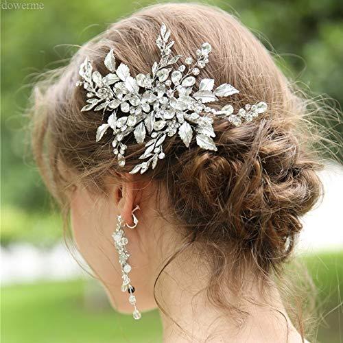 Dower Me Fashion Hair Clip Women Comb White Leaf