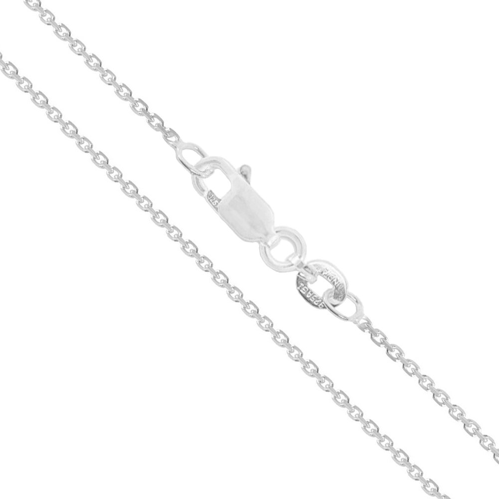 Sterling Silver Light Cable Chain 0.9mm Solid 925 Rolo Link Lobster Claw Clasp Necklace 20''