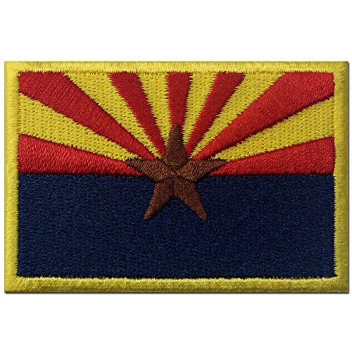 Arizona State Flag Embroidered Emblem Iron On Sew On AZ Patch - Red, Blue & Yellow