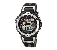 Armitron Sport Men's 44mm Silvertone Black Chronograph Digital Watch