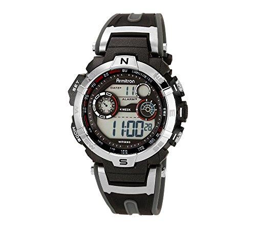 Armitron Sport Mens 44mm Silvertone Black Chronograph Digital Watch