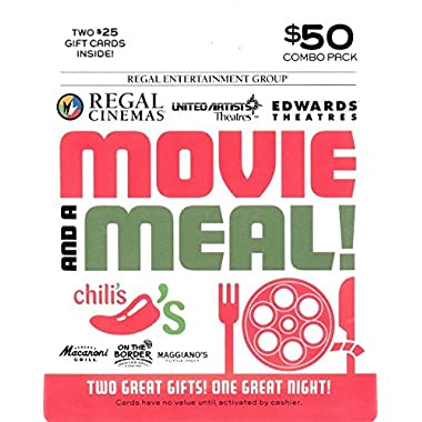 Brinker-Regal Entertainment Movie & A Meal Gift Cards, Multipack of 2 - $25
